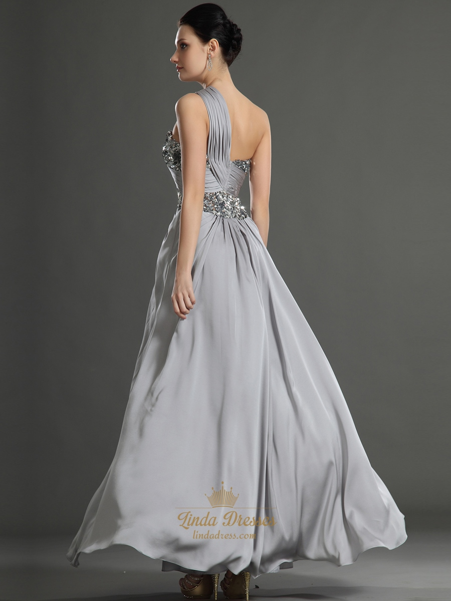 Elegant Grey And White Living Room: Elegant Grey One Shoulder Chiffon Prom Dress With Sequin