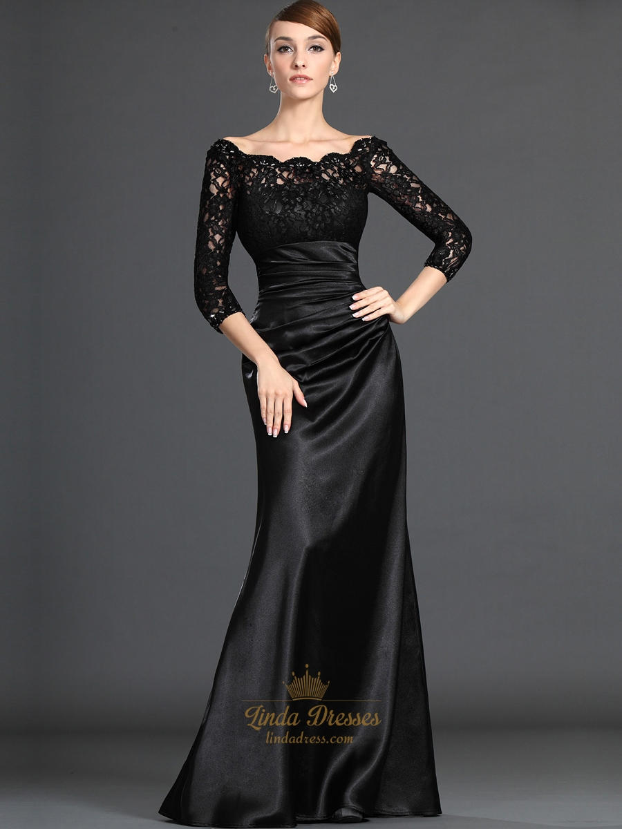 Black Lace Bodice Sheath Mother Of The Bride Dresses With 3 4 Sleeves