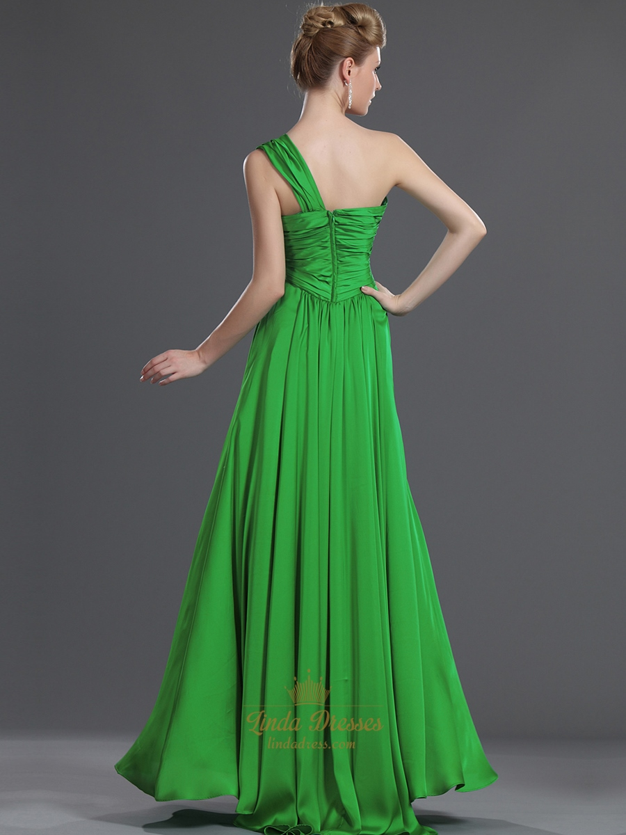 Elegant Green One Shoulder Chiffon Bridesmaid Dresses With