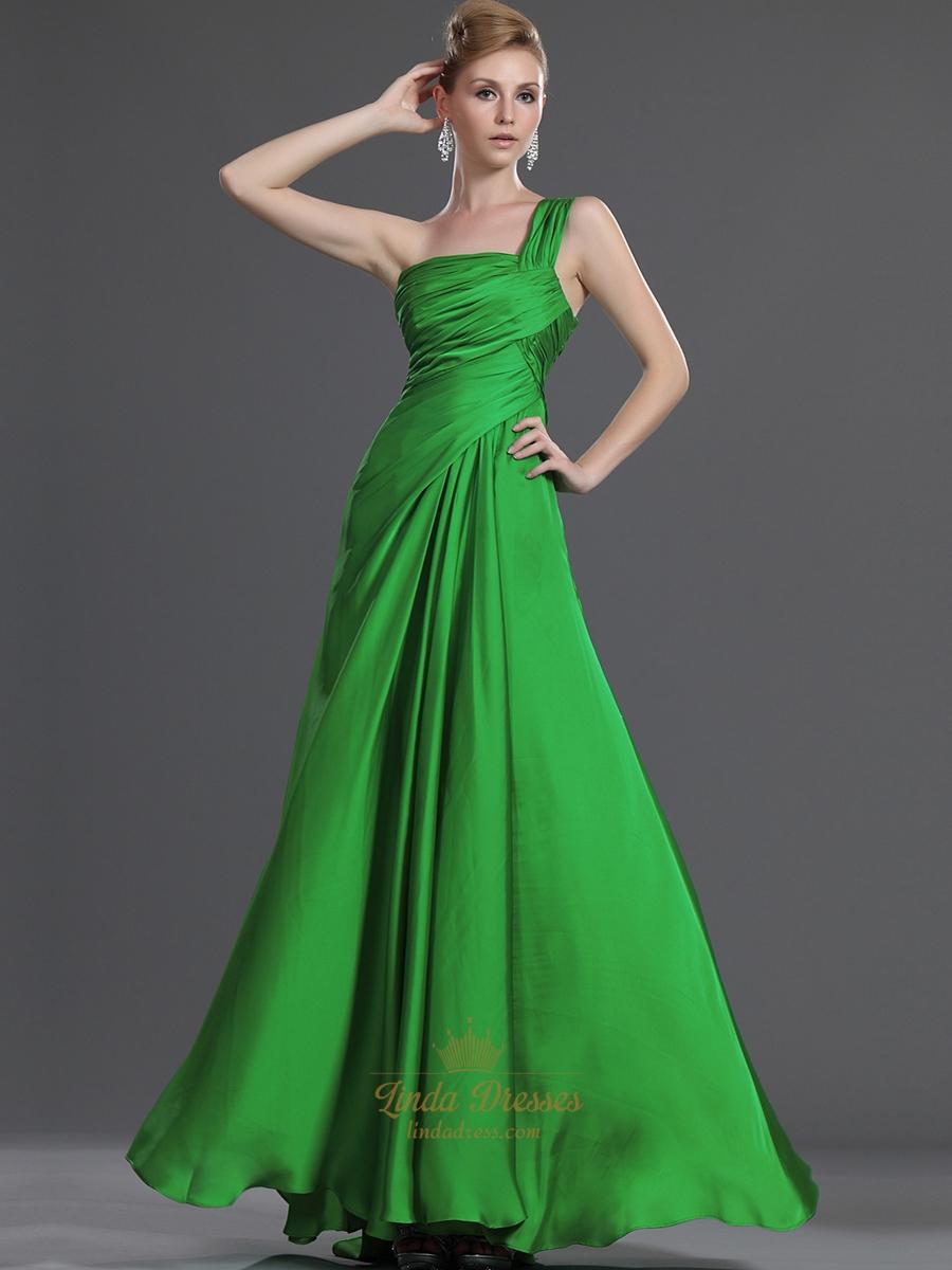 Elegant Green One Shoulder Chiffon Bridesmaid Dresses With
