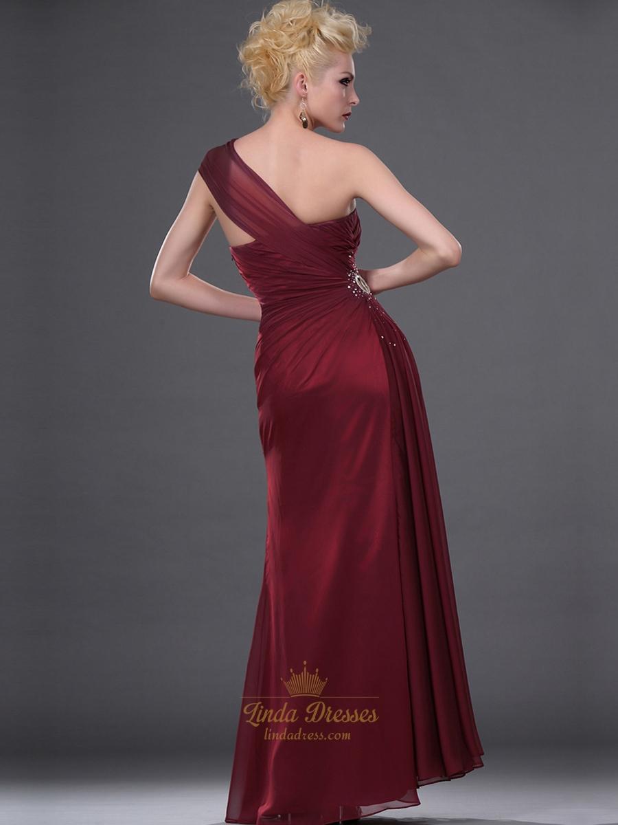 Burgundy One Shoulder Chiffon Sheath Prom Dress With Beaded Detail | Linda Dress