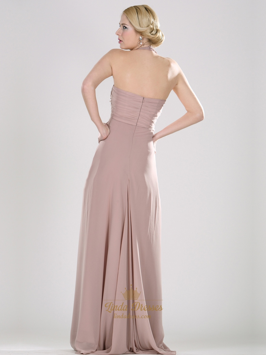 Pastel Pink Halter Neck Empire Chiffon Prom Dresses With