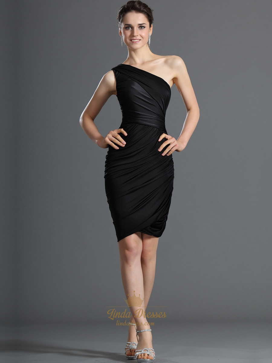 Black One Shoulder Sheath Knee Length Cocktail Dress With Ruching ...