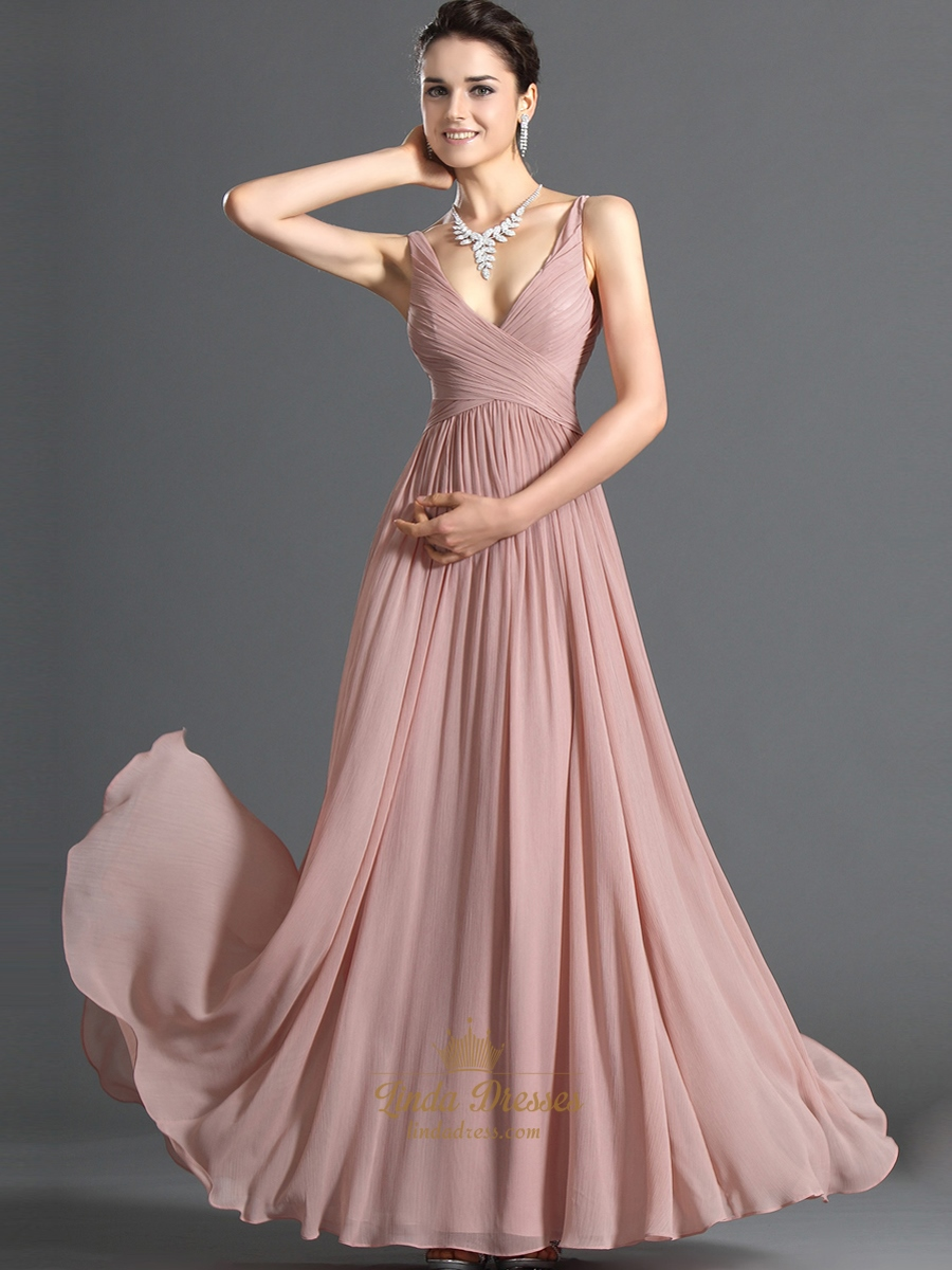 Pastel A-Line Pink V Neck Chiffon Long Bridesmaid Dress With Ruching ...