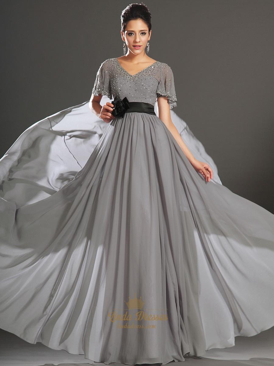 Grey V Neck Chiffon Beaded Flutter Sleeves Prom Dress With Black