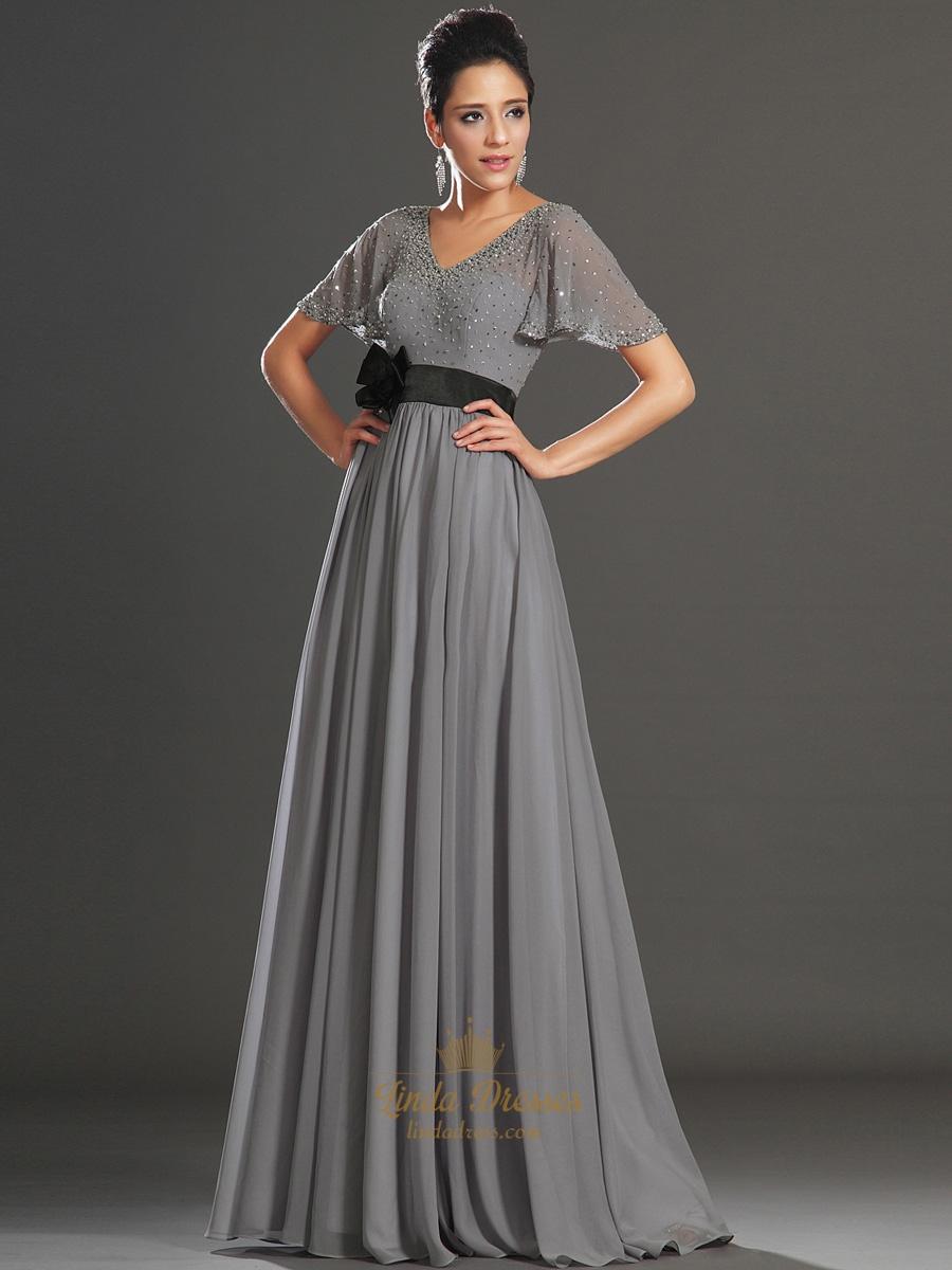 Grey V-Neck Chiffon Beaded Flutter Sleeves Prom Dress With Black ...