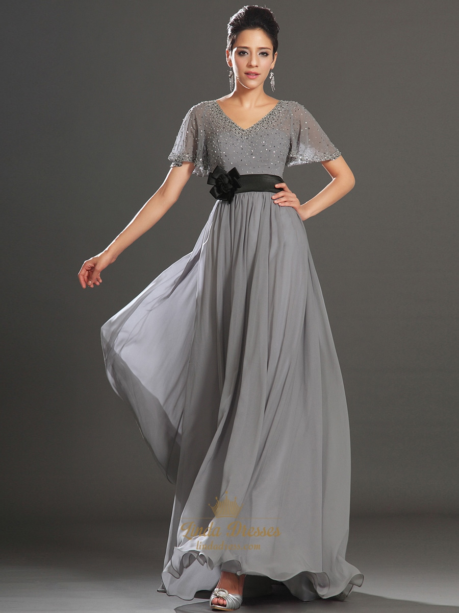 Grey V-Neck Chiffon Beaded Flutter Sleeves Prom Dress With