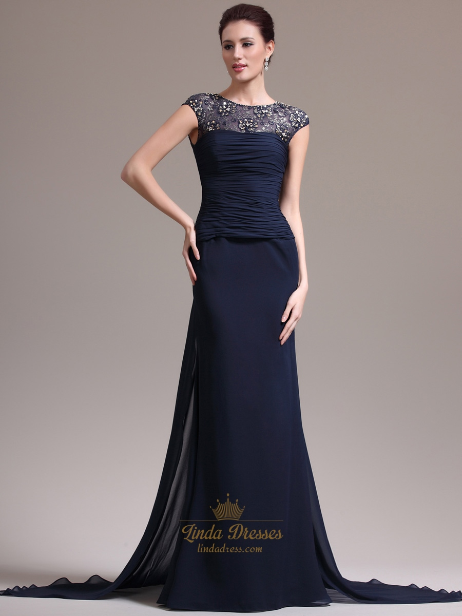 Navy Blue Chiffon Cap Sleeve Prom Dress With Beaded Illusion Neck ...
