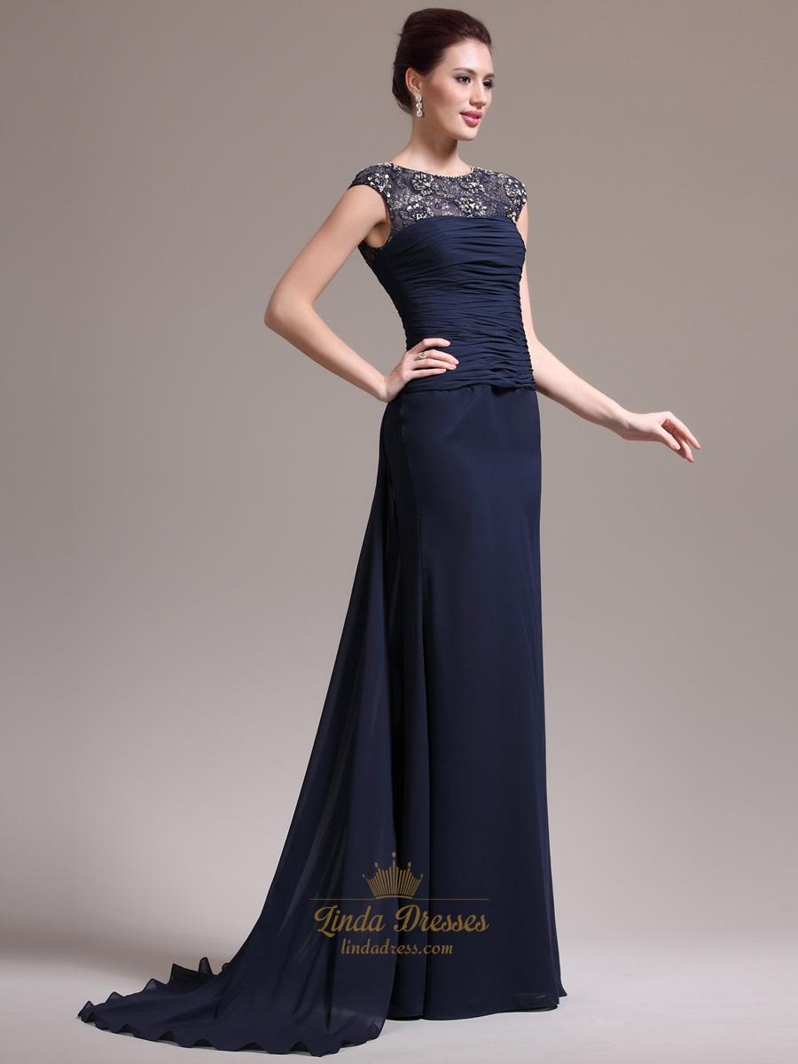 Navy Blue Chiffon Cap Sleeve Prom Dress With Beaded Illusion Neck ...
