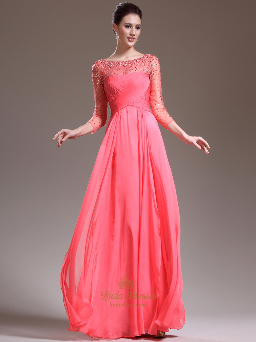 76f572bfd3fb1 Watermelon Chiffon Long Sleeve Prom Dress With Illusion Beaded Neck SKU  -E161