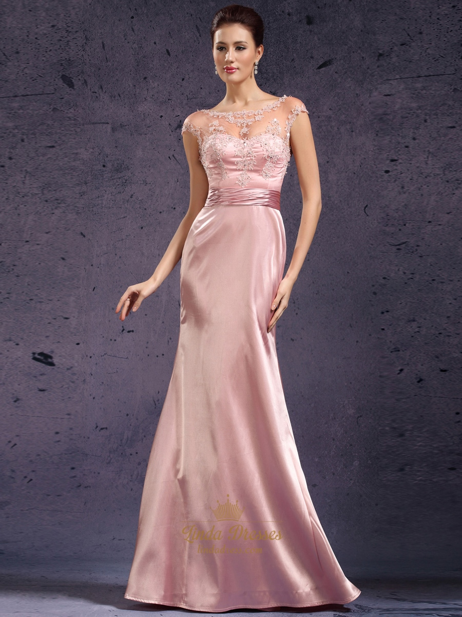 Pink Cap Sleeves Lace Bodice Sheath Prom Dress With Open Backs ...