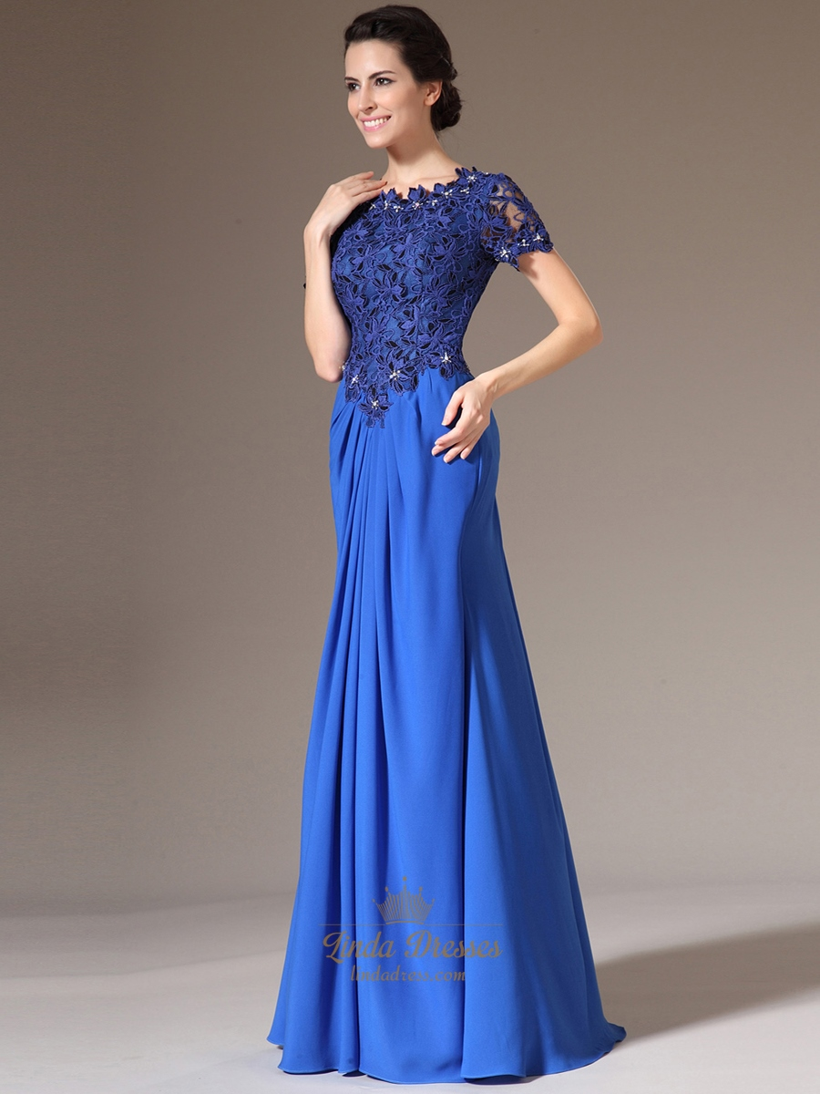 Royal Blue Sheath Lace Bodice Chiffon Prom Dress With ...