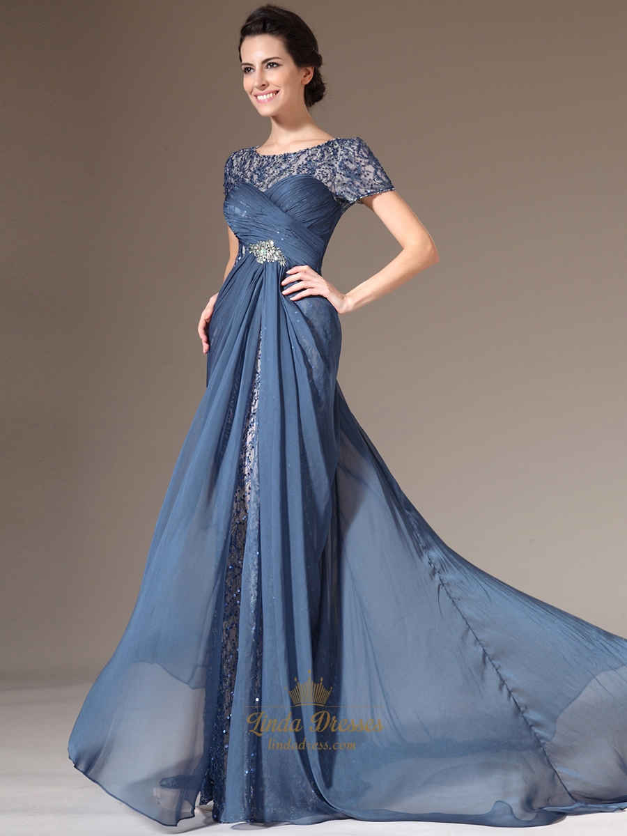 Teal Blue Sheath Mother Of The Bride Dresses With Asymmetrical ...