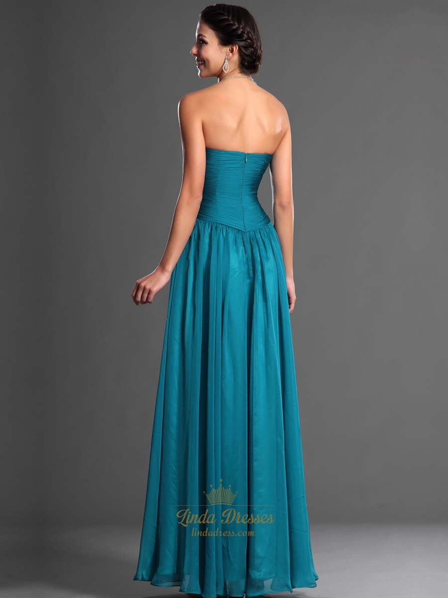 Teal Sweetheart Strapless Chiffon Bridesmaid Dresses With Ruched ...