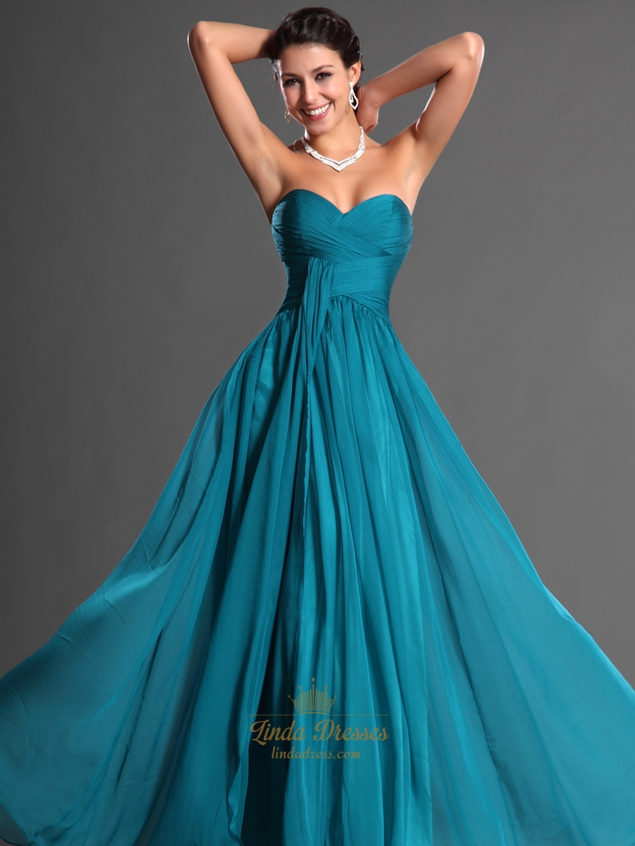 Teal Sweetheart Strapless Chiffon Bridesmaid Dresses With