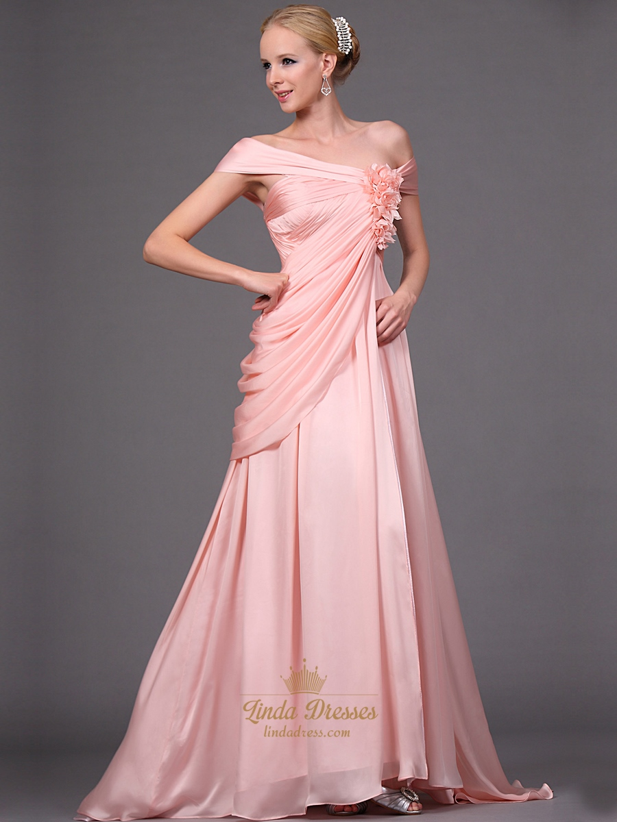 Pink Off The Shoulder Side Drape Chiffon Prom Dress With