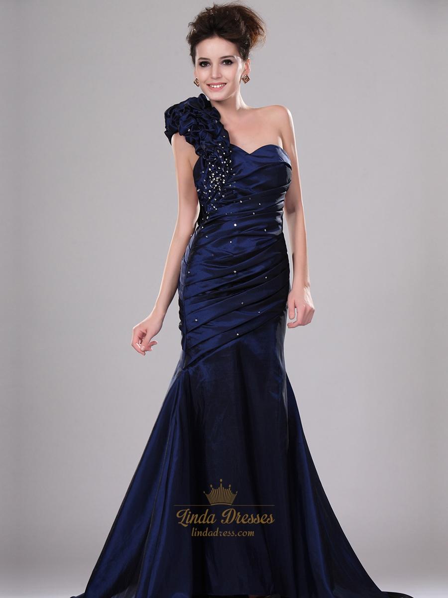 Navy Blue Single Strap Taffeta Mermaid Prom Dress With ...