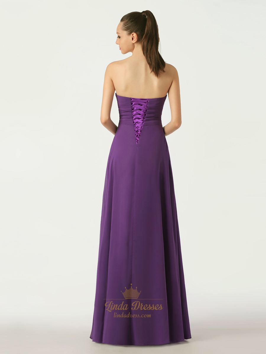 Purple bridesmaid dresses with lace up back for Wedding dresses with lace up back