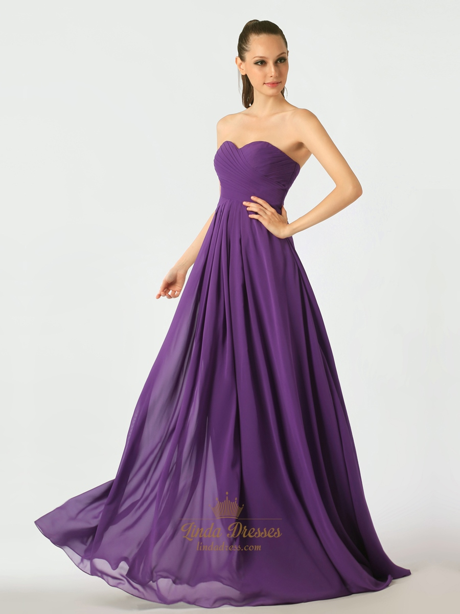 Purple sweetheart chiffon a line bridesmaid dresses with for Purple wedding dresses for bridesmaids
