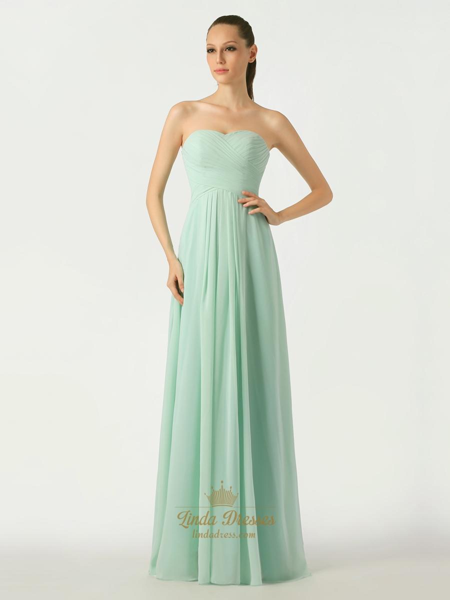 Mint green a line sweetheart chiffon floor length for Mint bridesmaid dresses wedding