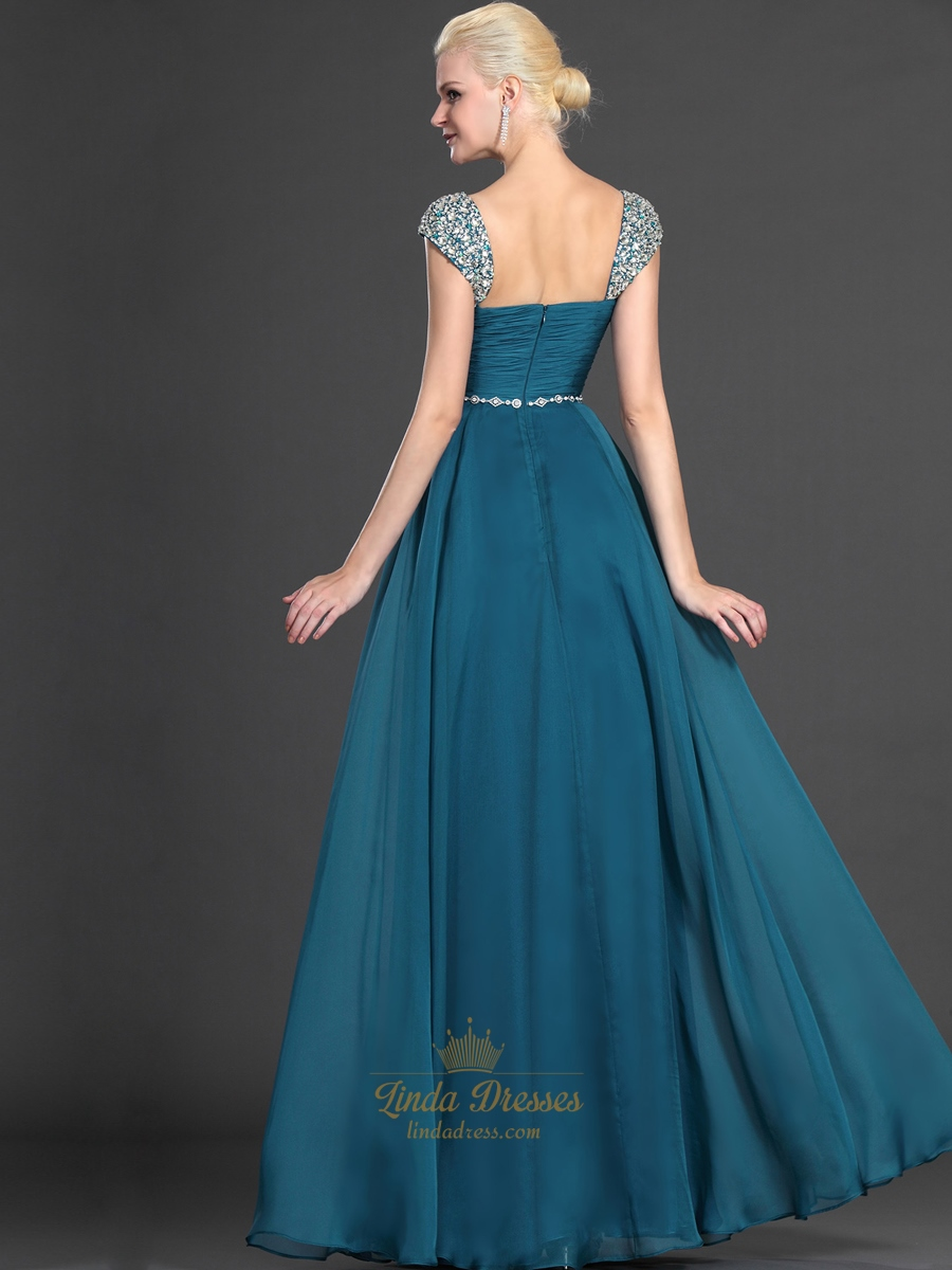 Teal Sweetheart Beaded Cap Sleeves Chiffon Prom Dress With