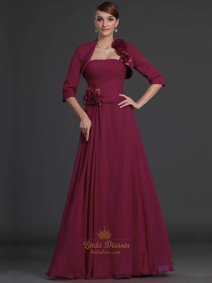 Burgundy Strapless Chiffon Mother Of The Bride Dress With Bolero