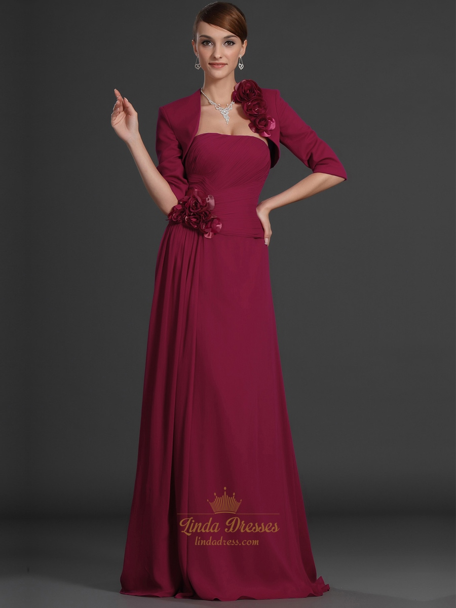 Burgundy Strapless Chiffon Mother Of The Bride Dress With