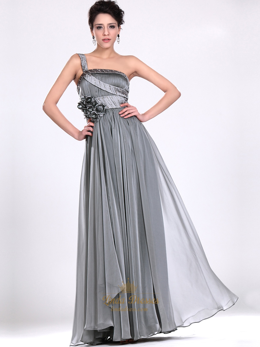 Grey Chiffon One Shoulder Prom Dresses With Floral Detail