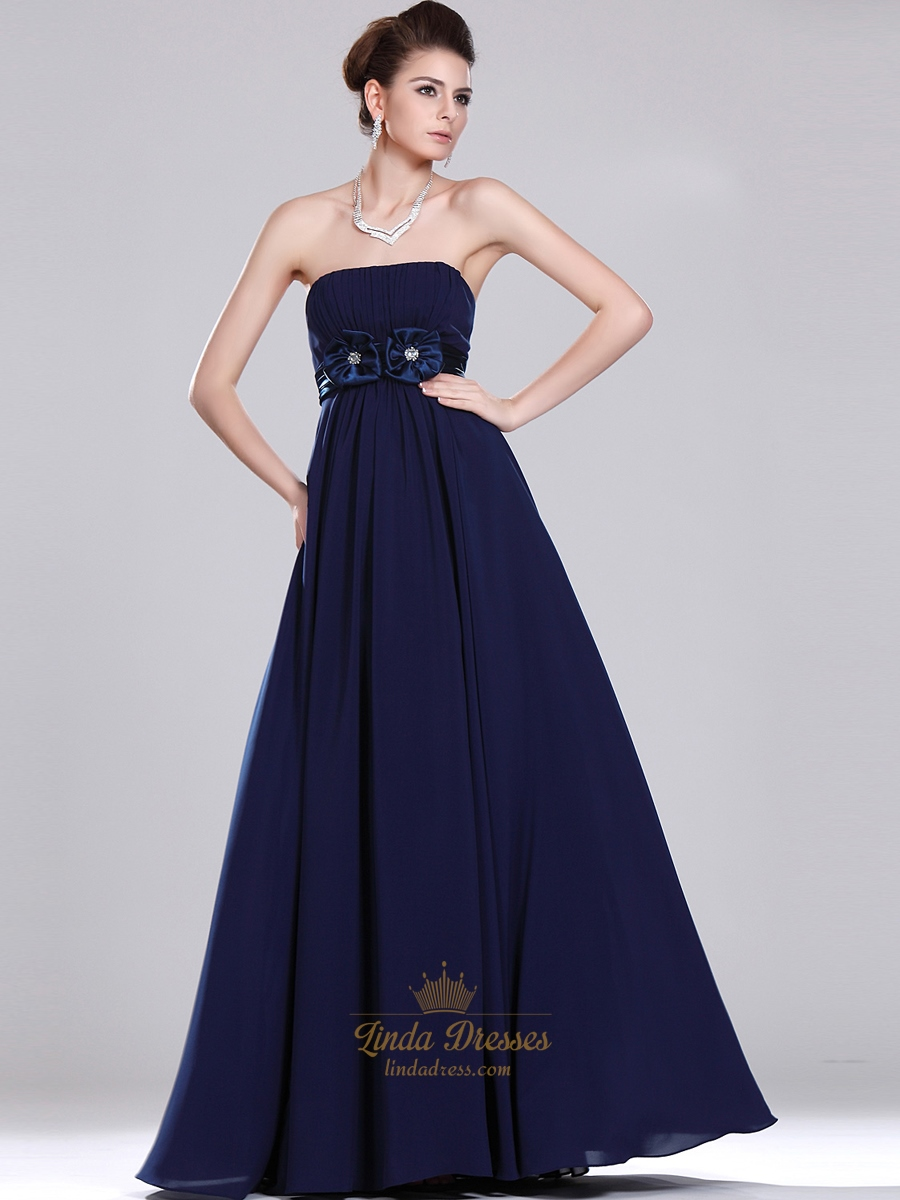 Navy Blue Strapless Empire Chiffon Bridesmaid Dresses With