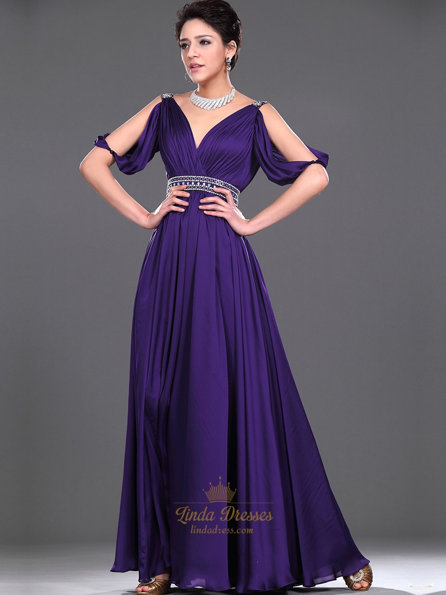 Purple Chiffon V Neck Ruched Bodice Prom Dress With Beaded