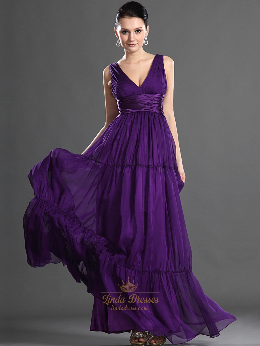 Purple v neck chiffon a line floor length bridesmaid dress with purple v neck chiffon a line floor length bridesmaid dress with ruching ombrellifo Image collections