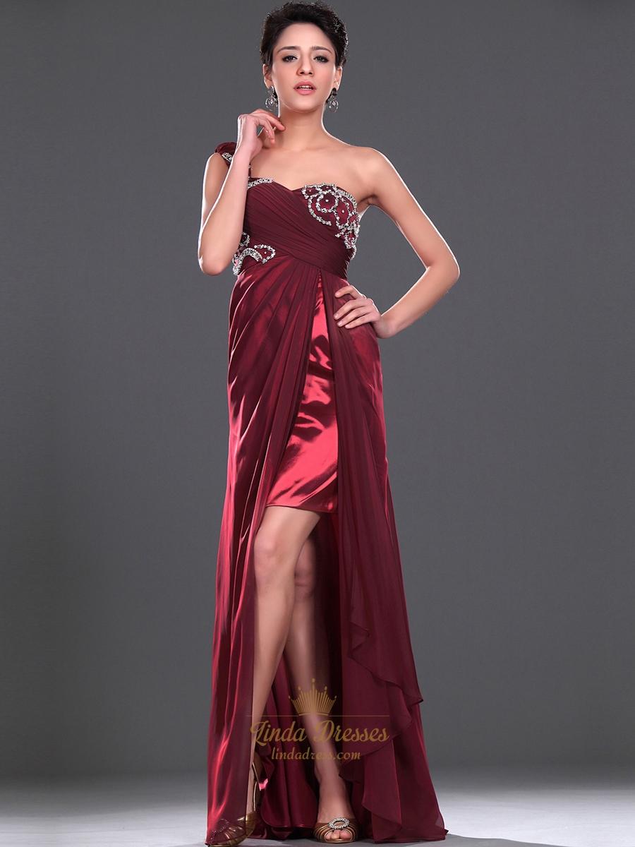 Burgundy One Shoulder Beaded Chiffon Prom Dress With Split Front Skirt | Linda Dress