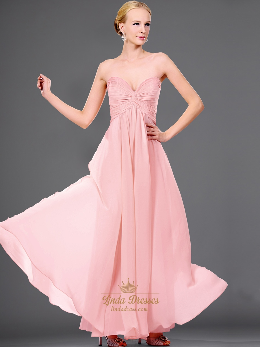 Pink sweetheart strapless chiffon bridesmaid dress with twist pink sweetheart strapless chiffon bridesmaid dress with twist front ombrellifo Choice Image