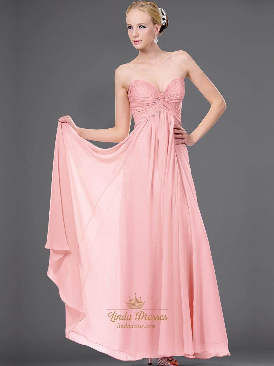 Pink sweetheart strapless chiffon bridesmaid dress with for Chiffon sweetheart wedding dress