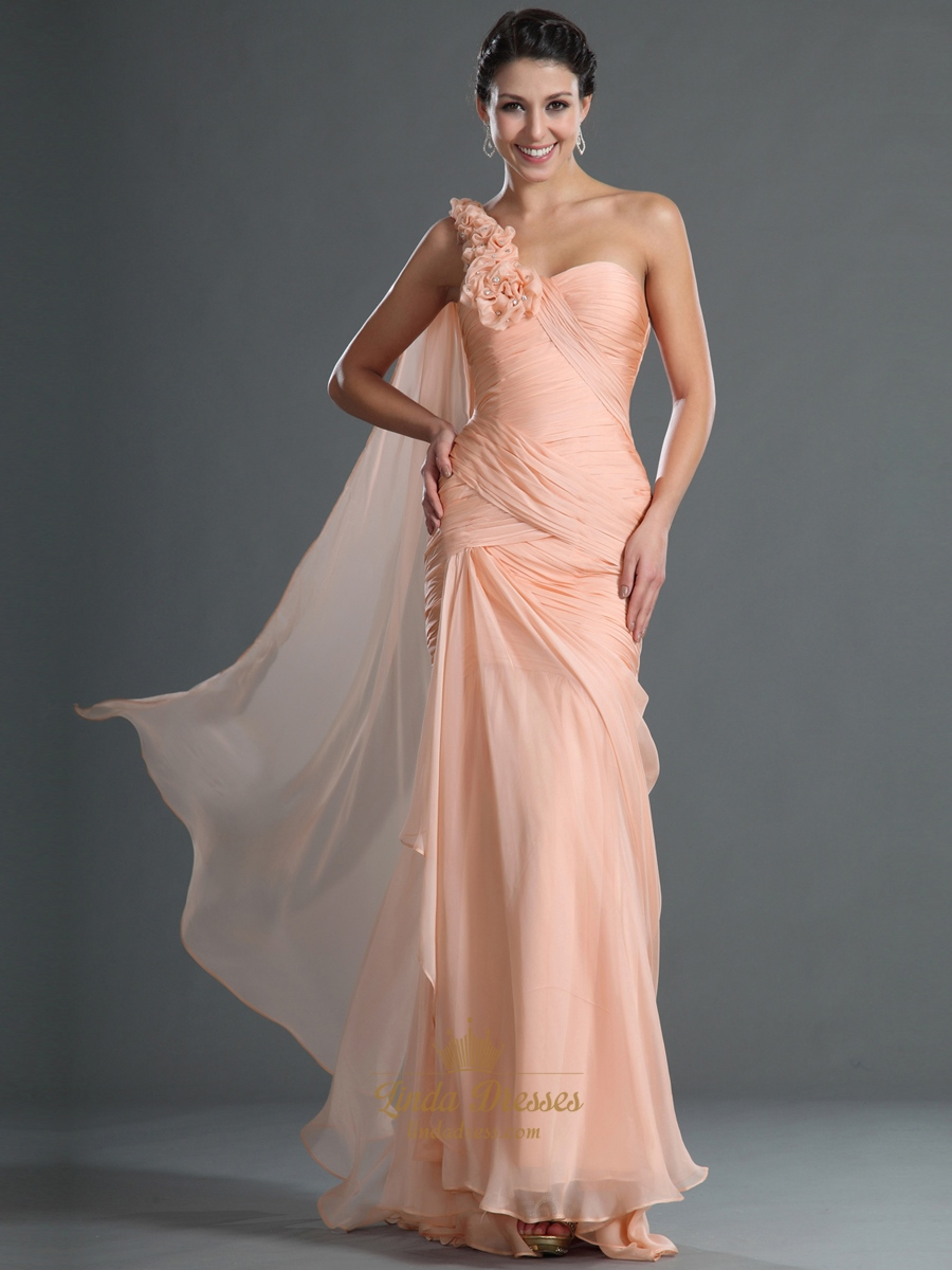 Peach Chiffon Mermaid Prom Dress With Floral Detail And One Shoulder ...