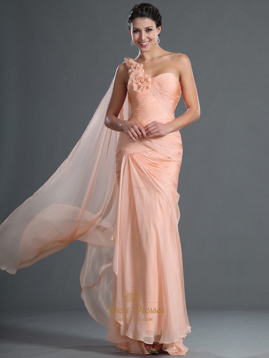 peach chiffon mermaid prom dress with floral detail and