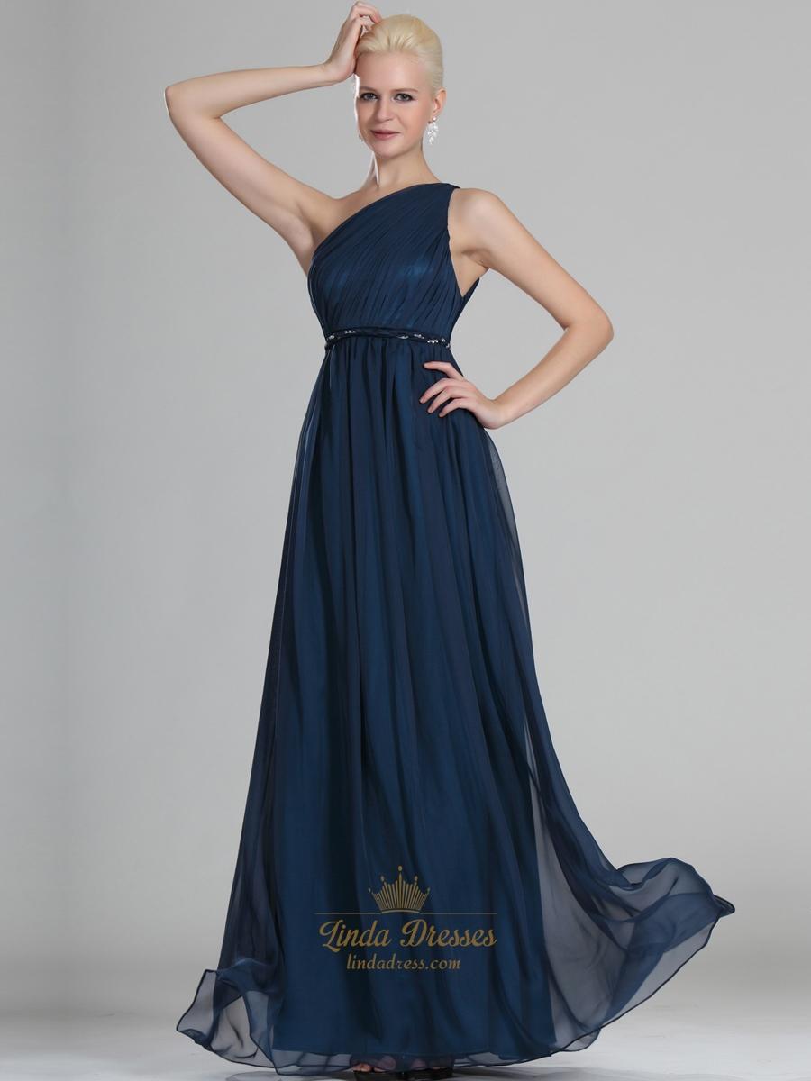 9df4ce986a7 Navy Blue One Shoulder Chiffon Floor Length Bridesmaid Dresses With Belt SKU  -E221