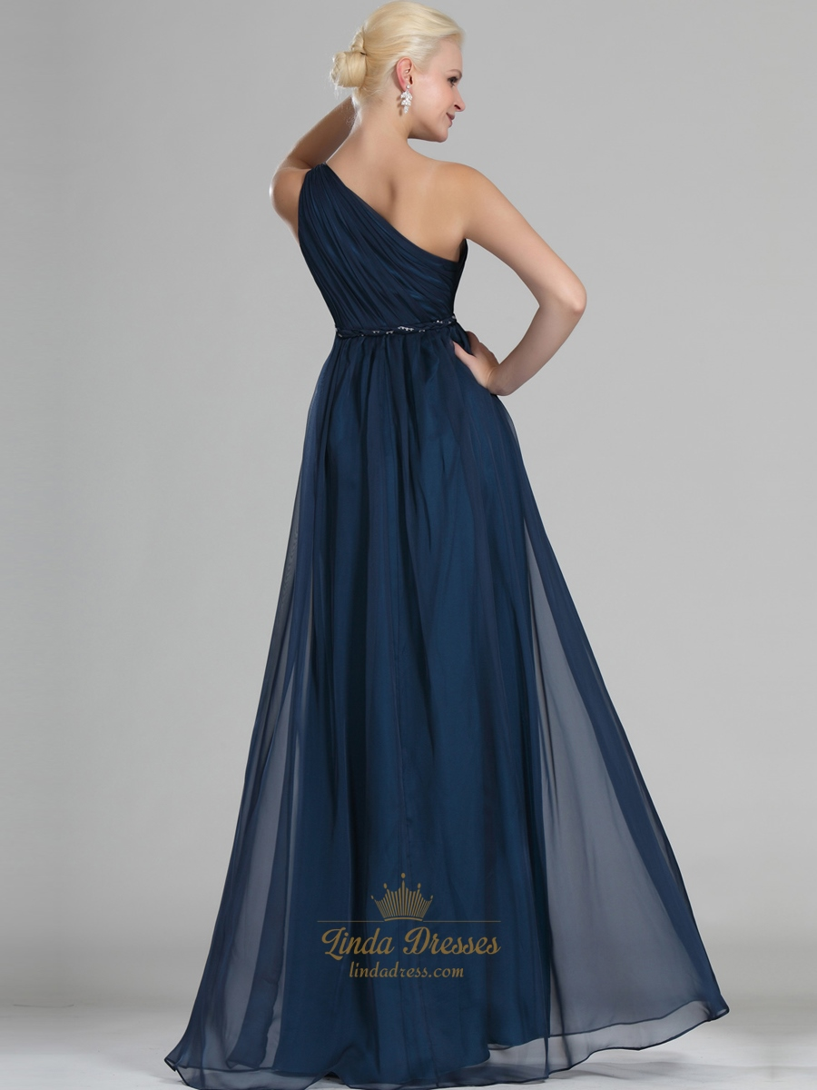 Navy blue one shoulder chiffon floor length bridesmaid for Mid length wedding dress