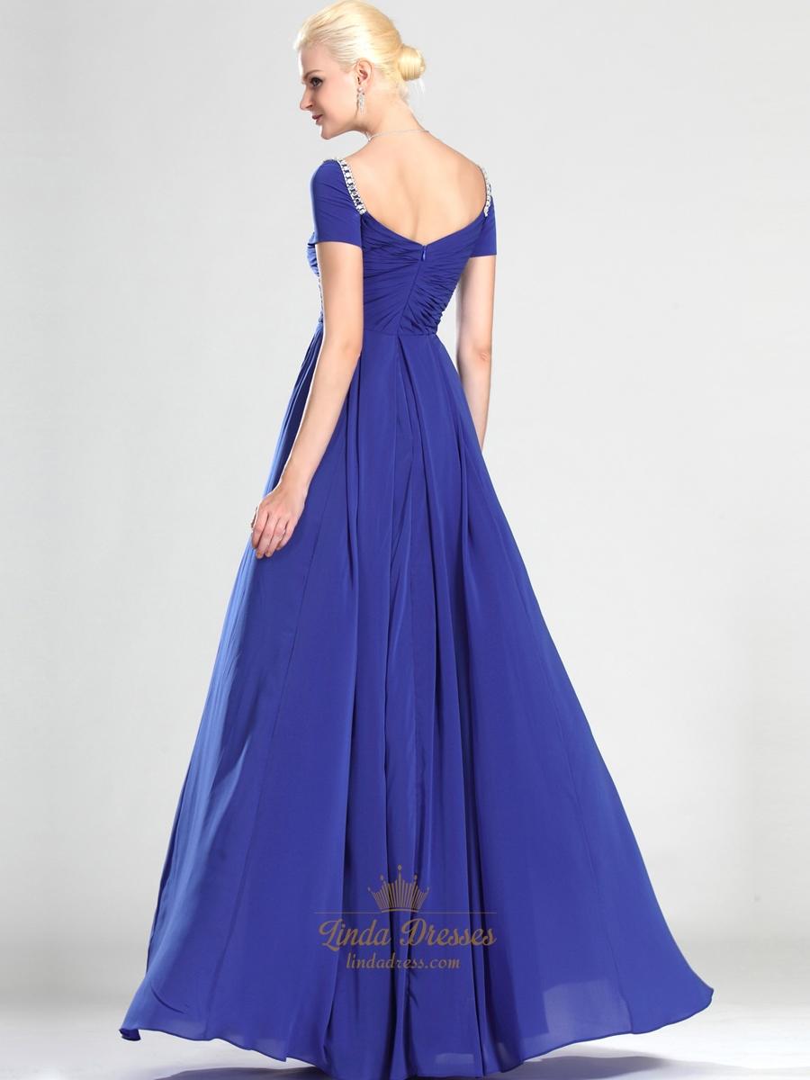 Royal Blue Off The Shoulder Chiffon Bridesmaid Dresses With Beading ...