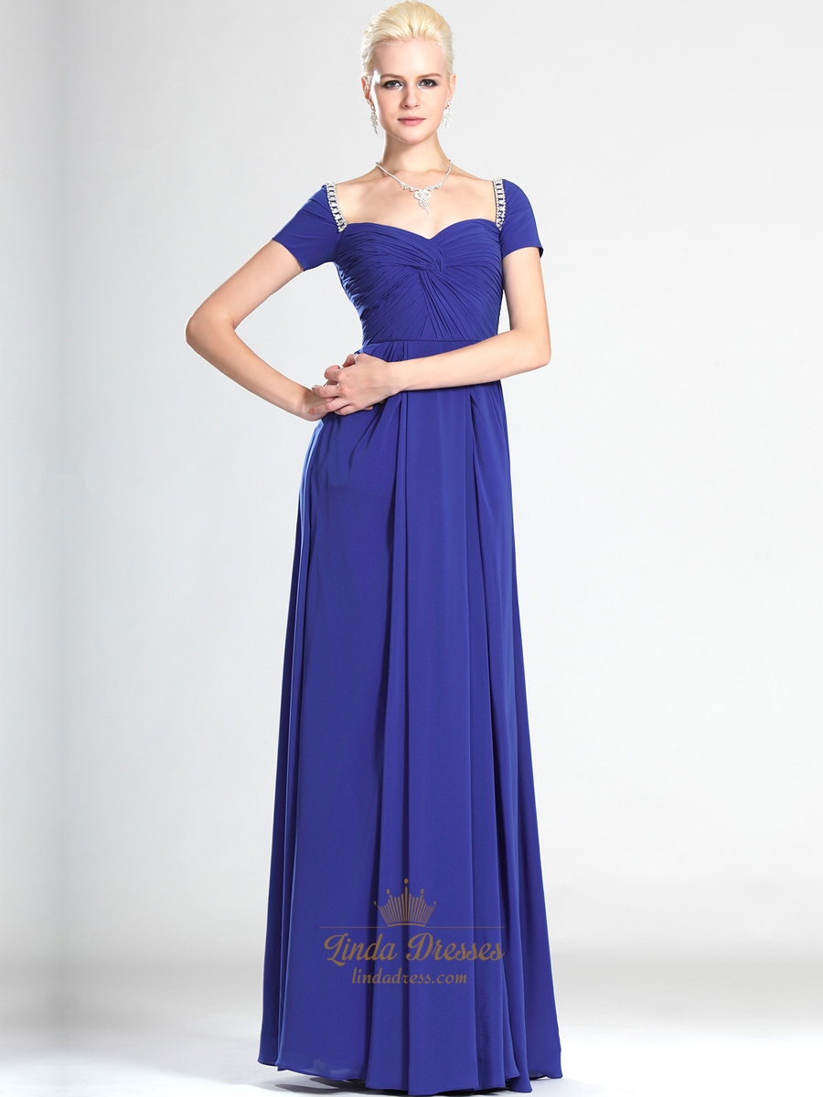 Royal Blue Off The Shoulder Chiffon Bridesmaid Dresses With Beading ...