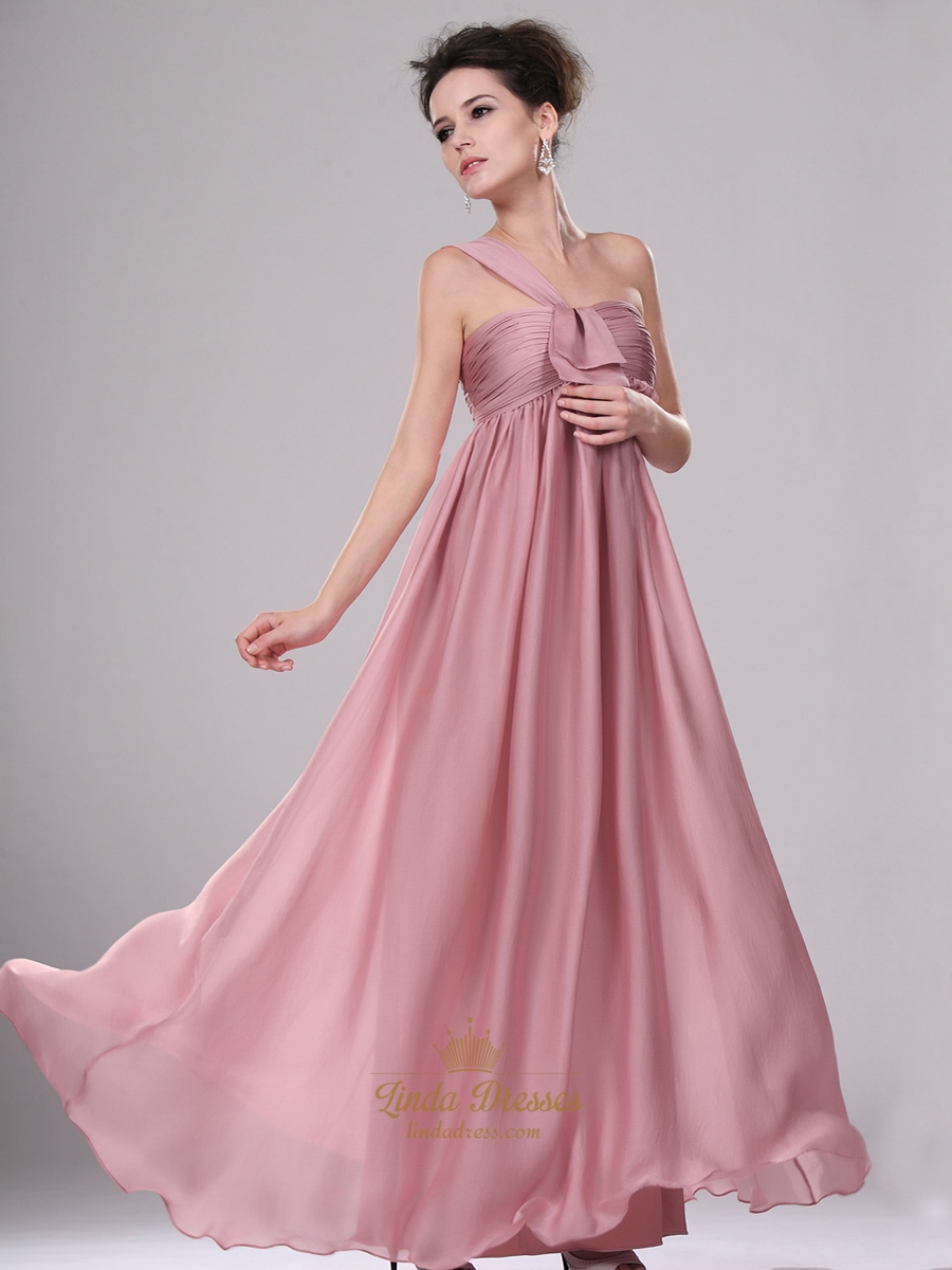be514c7a15e Pastel Pink One Shoulder Empire Waist Long Chiffon Bridesmaid Dress SKU  -E225