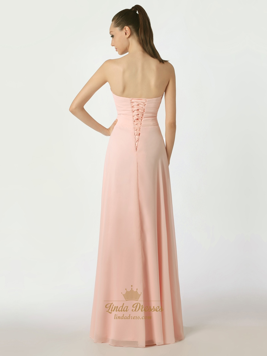 Pink chiffon strapless floor length bridesmaid dress with for Wedding dresses lace up back