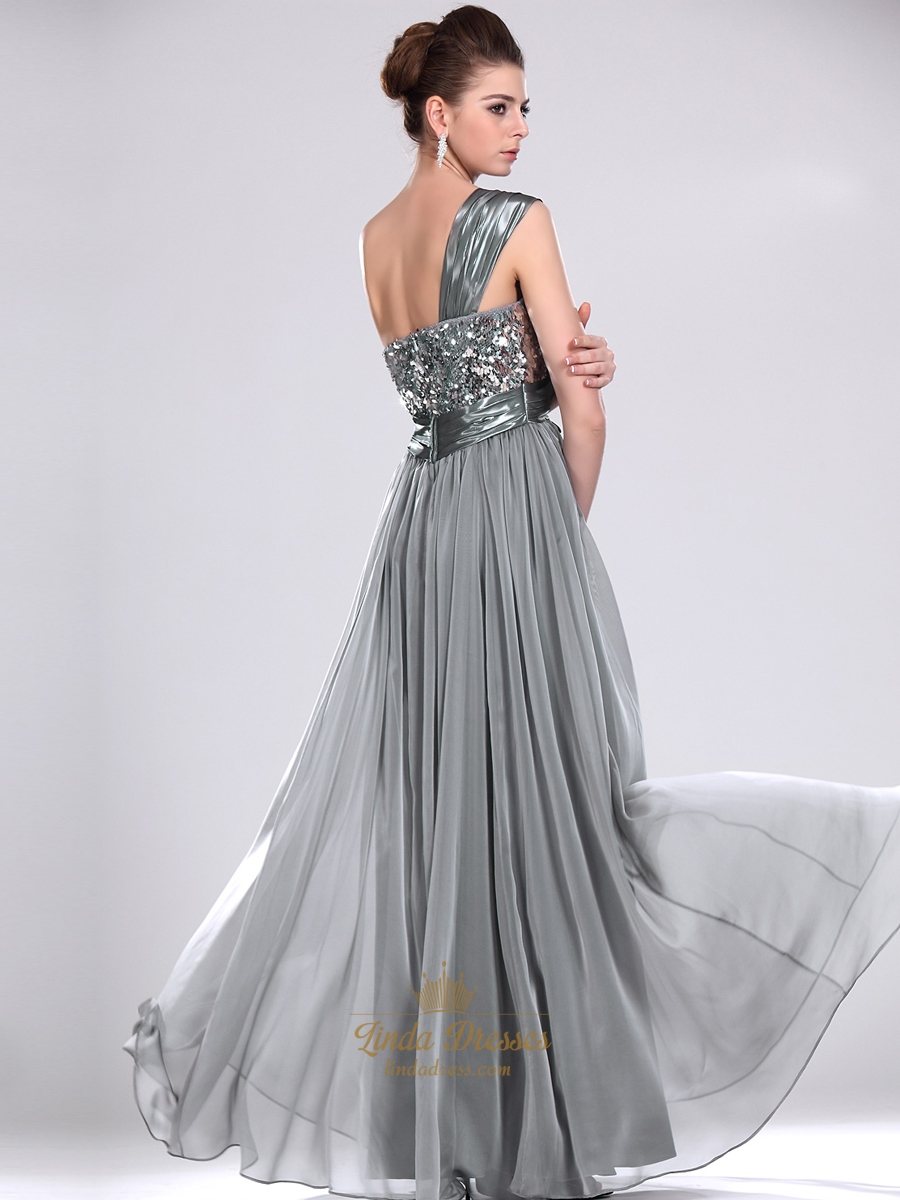 Grey Chiffon Sequin Bodice One Shoulder Prom Dress With