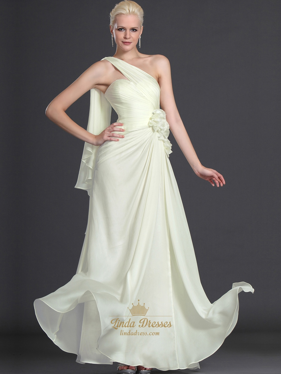 Pale Yellow Chiffon Bridesmaid Dress With Floral And One Shoulder
