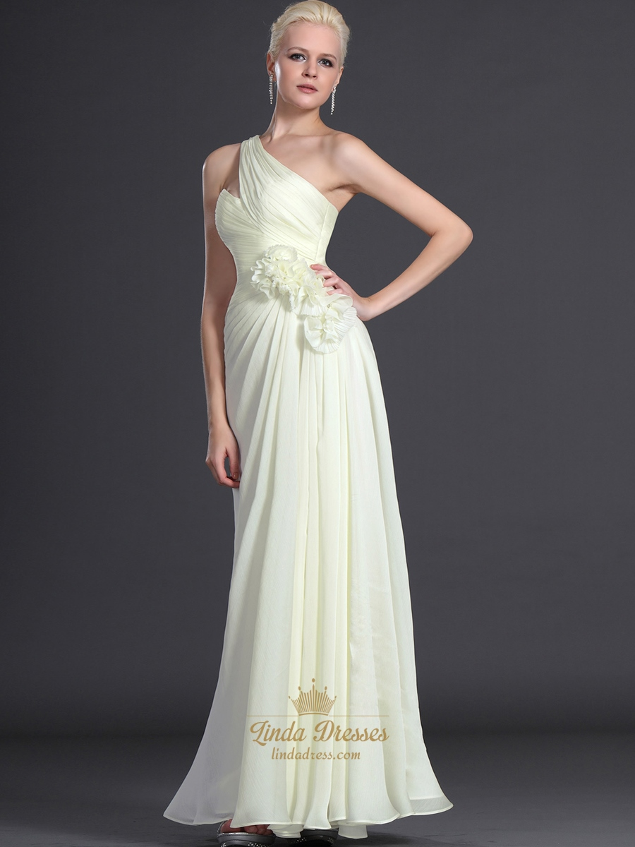 Pale yellow chiffon bridesmaid dress with floral and one shoulder pale yellow chiffon bridesmaid dress with floral and one shoulder detail ombrellifo Image collections
