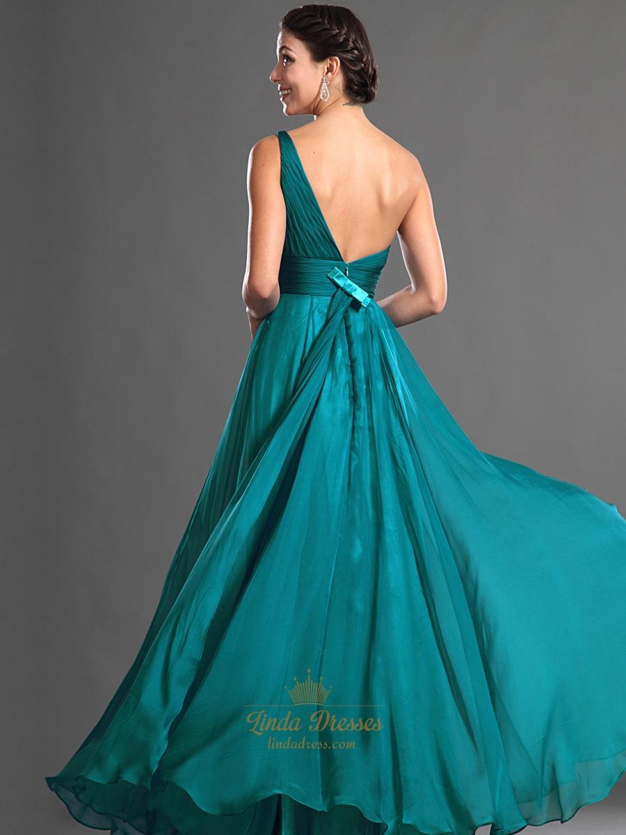 Teal One Shoulder Chiffon Floor Length Bridesmaid Dresses