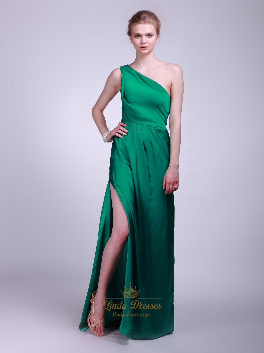 Green One Shoulder Chiffon A-Line Bridesmaid Dresses With Side Split ...