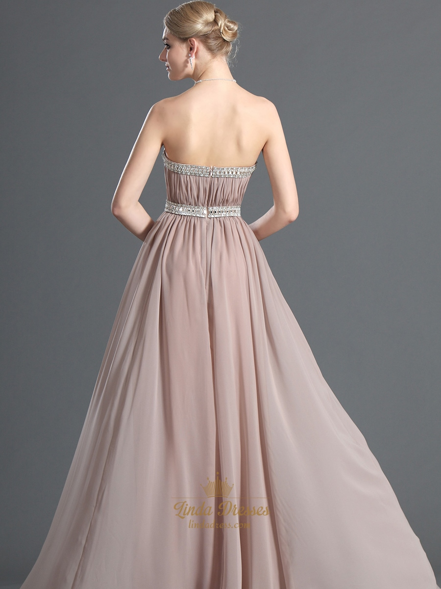 Pastel pink chiffon strapless long bridesmaid dress with for Long strapless wedding dresses