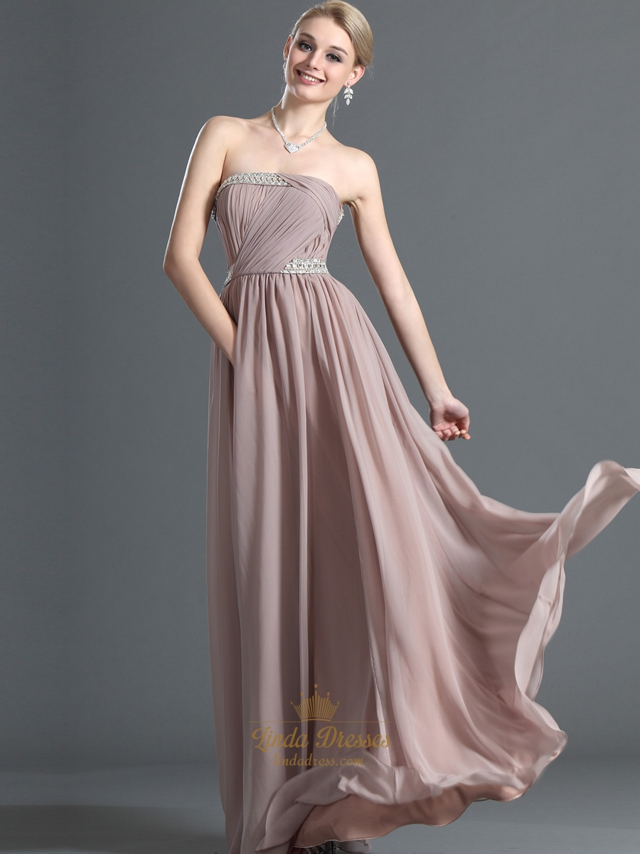 Pastel Pink Chiffon Strapless Long Bridesmaid Dress With