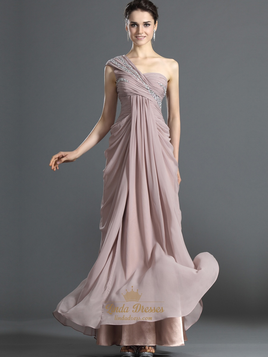 Pastel Pink One Shoulder Beaded Chiffon Prom Dress With